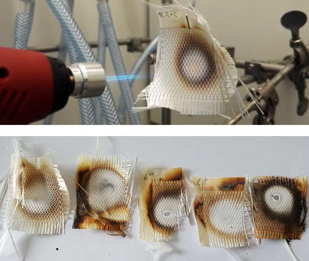 Abbildung 3: Vergleich der beschichteten Gewebe mit Referenz bei Einwirkung einer Pilotflamme bis zur Bildung von Schmelzstellen