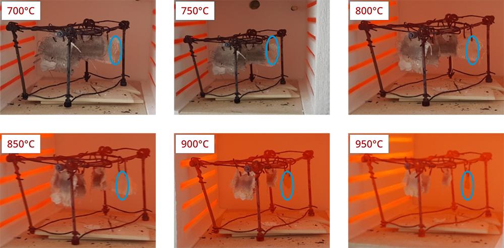 Abbildung 4: Beschichtete Glasfasergewebe keramisieren im Gegensatz zur Referenz (blau) bei signifikant höheren Temperaturen